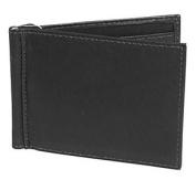 Piel Leather 2858-BLK Bi-Fold Money Clip Wallet - Black