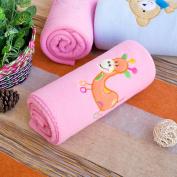 Blancho Bedding TB-BLK014-GIRAFFE-29.5by39.4 Orange Giraffe - Pink Embroidered Applique Coral Fleece Baby Throw Blanket