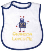 Dee Givens & Co-Raindrops A66932 Grandma Loves Me Boy Medium Bib - Royal