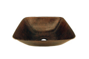 Premier Copper Products VSQ14BDB Square Vessel Hammered Copper Sink, Oil Rubbed Bronze