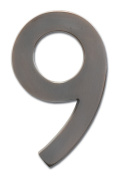 Architectural Mailboxes 3582DC Number 9 Solid Cast Brass 4 inch Floating House Number Dark Aged Copper 9