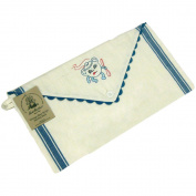 Aunt Marthas 423679 Vintage Stripe Sewing Sack 46cm . x 24cm . -Blue Stripe with Blue Rick Rack Trim