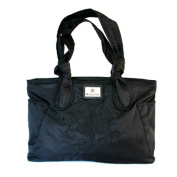 Halle Joy 100147 Hope Knotte Tote Black Nylon with Embroidery