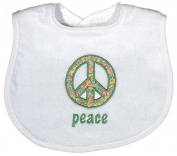 Dee Givens & Co-Raindrops A49035 Peace Appliqued Small Bib - White
