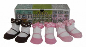 Dimples 649241849254 Shopping on the Square Three Pairs Bow Flat Socks