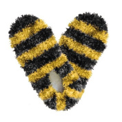 Red Carpet Studios 60088 Fuzzy Footies - Adult - Black-Gold Striped