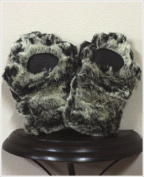 BearHands KX1000G-B Youth Small Faux Fur Mittens Grey-Black