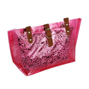 Blancho Bedding ZL618-PINK Lucky Pink Leopard Double Handle Leatherette Satchel Bag Handbag Purse Casual Styling