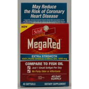 MegaRed Extra Strength Omega 3 Krill Oil-100% Pure Antarctic Krill Oil-Optimal Combination of Omega 3 Fatty Acids- DHA, EPA-500mg/Softgel, 45 Softgels