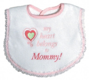 Dee Givens & Co-Raindrops 6238 My Heart Belongs to Mommy Girl Small Bib - Pink