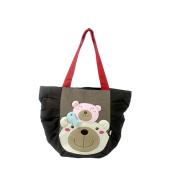Blancho Bedding K264-BLACK Bear Family Canvas Shoulder Tote Bag / Shopper Bag