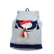 Blancho Bedding K211-BLUE Lovely Doll Fabric Art School Backpack / Outdoor Backpack