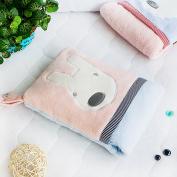 Blancho Bedding TB-CB003-PINK-28.3by35.1 Pink Rabbit Fleece Throw Blanket Pillow Cushion / Travel Pillow Blanket