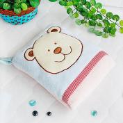 Blancho Bedding TB-CB002-BLUE-28.3by35.1 Blue Bear Fleece Throw Blanket Pillow Cushion / Travel Pillow Blanket