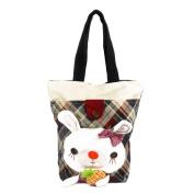 Blancho Bedding K292-1 Rabbit and Pineapple Canvas Shoulder Tote Bag / Shopper Bag