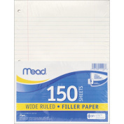 Filler Paper 20cm x 27cm Three Hole Punched 150/Pkg-Wide Ruled White