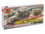 White Half-Track M3A1 & 1 Tonne Trailer - 1:76 Scale - A02318 - Airfix