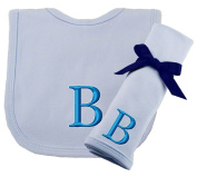 Princess Linens Embroidered Blue Initial Cotton Knit Bib and Burp Cloth Set
