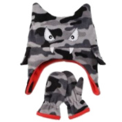 ABG Infant & Toddler Boy Grey Cammo Monster Trapper Hat & Mittens Set Fleece