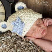 Melondipity Boys Chunky Sugar Bear Blue Star Baby Hat - High Quality White Crochet Beanie