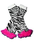 Precious Eggs Unisex-Baby Zebra with Hot Pink Chiffon/Tutu Ruffles Leg Warmer Zebra