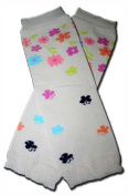 Precious Eggs Unisex-Baby White With Colourful Flowers Leg Warmer Rainbow