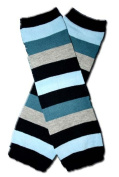 Precious Eggs Unisex-Baby Thick Stripes Leg Warmer Blue/Grey & Black