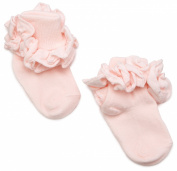 Jefferies Socks Double Ruffle Turncuff Sock, Pastel Pink