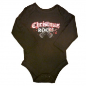 Baby Glam Infant Boys & Girls Bling Creeper Christmas Rocks Onesie Black Shirt