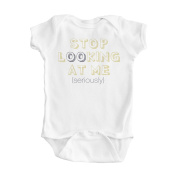 Boy's White Humorous Stop Looking at Me One Piece Bodysuit