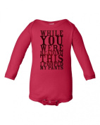 Humorous I Pooped My Pants Design Red Baby Bodysuit
