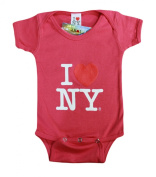 I Love NY New York Baby Infant Screen Printed Heart Bodysuit Hot Pink