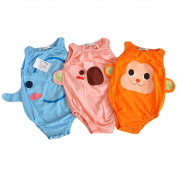 Set 3 LOCOMO Baby Unisex Animal Sleeveless Bodysuit FBB001