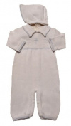 Boy's White Cotton Knit Christening Baptism Longall with Blue Cross and Hat