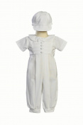 White Poly Cotton Christening Baptism Romper Set with Pleated Bodice and Hat