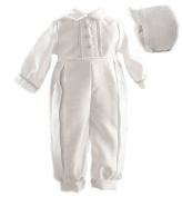 Lauren Madison Baby boy Christening Baptism Special occasion Infant Shantung Full Length Romper With Inverted Pleating On Front