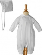 Pleated Boys Christening Baptism Coverall with Embroidered Shamrock Cluster and Hat