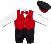 Infant Boy's 5-pc Knickers Outfit Red Velvet Vest, Bow Tie, Hat - 3 to 24 Months