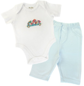 Funkoos 2-piece, Organic Circus Train Baby Boy Bodysuits and Baby Boy Pant Set, Newborn/Infant/Baby