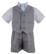 New Baby and Toddler Boy Summer Suit Silver Vest Short Set