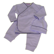 Take Me Home Layette-Blue with Navy picot trim by Cute as Buttons