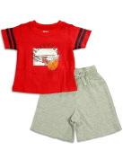Wes And Willy Sleepwear - Infant Boys Short Sleeve Basketball Shortie Pyjamas