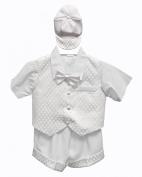 White Baby Boy Tuxedo Short Suit Set, Shirt, Vest, Bow tie, Hat
