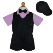 Boys Summer Suit 5 Pc Set Lilac Shirt