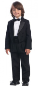 Black Round Split Tail Tuxedo with Matte Satin Cummerbund & Bowtie