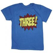 Happy Family Superhero Third Birthday Kids T-Shirt