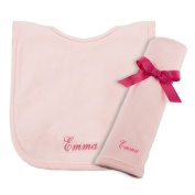 Princess Linens Cotton Knit Bib and Burp Pad Set