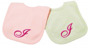Princess Linens Embroidered Cotton Knit Bib Set - Pink/Sage