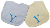 Princess Linens Embroidered Cotton Knit Bib Set - Blue/Yellow