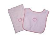 Heart Terry Snap Bib and Nappy Burp Cloth Set